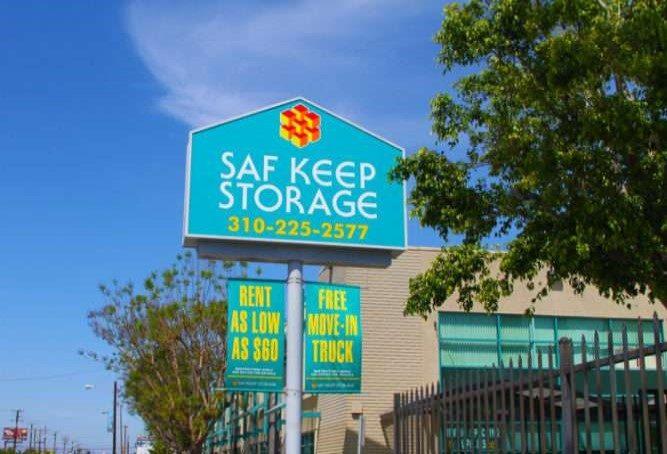 Saf Keep Storage sign against a blue sky